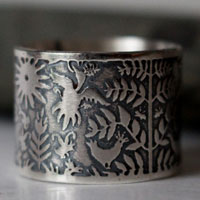 Made of air and water, otomi fish and bird ring in sterling silver