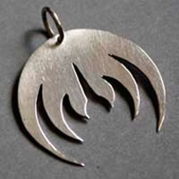 Magma, rock band logo pendant in sterling silver