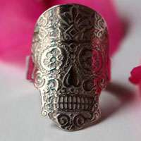Mexican skull, floral Mexico skull ring in sterling silver