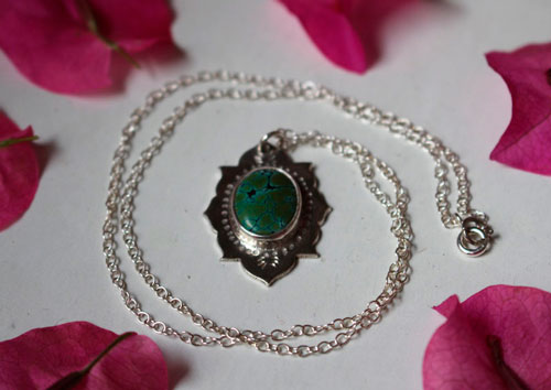 Milli, Indian necklace in sterling silver and turquoise