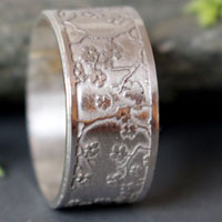 Misaki, Japanese cherry branch ring in sterling silver