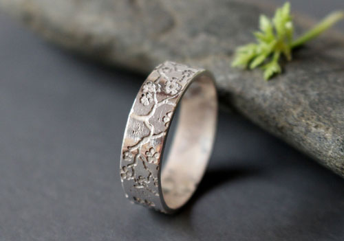 Misao, Japanese cherry blossom ring in sterling silver