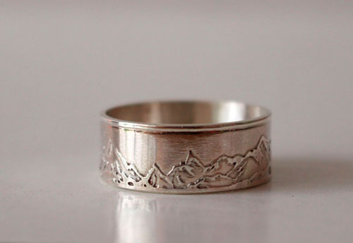 Mountain, mountain chain ring in sterling silver