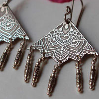Nehal, triangle mandala earrings in sterling silver
