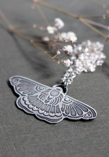 Night ballet, butterfly moth necklace in sterling silver