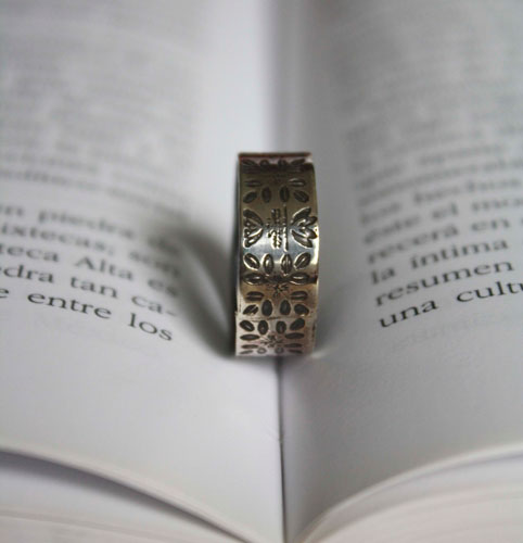 Nile flowers, stylized flower ring in sterling silver