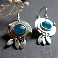 Nova apatite, astronomical earrings in sterling silver and blue apatite