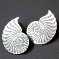 Ophite, ammonite studs earrings in sterling silver