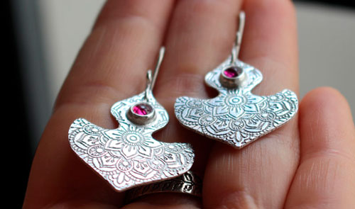 Ophrys, orchid mandala earrings in sterling silver and ruby