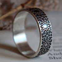 Oriental sun, oriental geometric sun ring in sterling silver