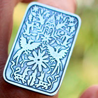 Otomi, Mexican tribal ring in sterling silver