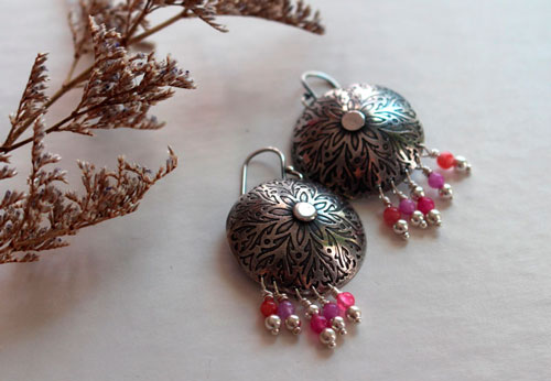 Peony, flower earrings in sterling silver and agate