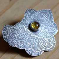 Persian Moon, Silk Road brooch in sterling silver and amber