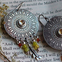 Petals from the sun, mandala earring in sterling silver, citrine and carnelian