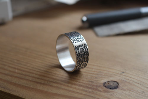 Pomegranate, etched fruit ring in sterling silver