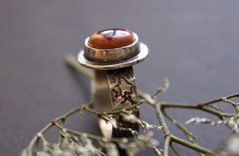 Red cherry flower, japanese flower ring in sterling silver and Mexican cantera opal