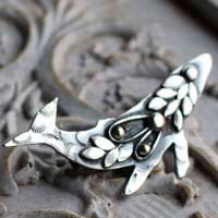 Sedna, whale brooch in sterling silver