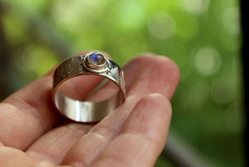 Silver fern, Maori legend ring in sterling silver and rainbow moonstone