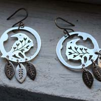 Soul messenger, botanical raven earrings in sterling silver