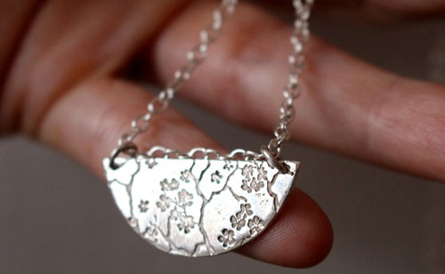 Sumiko, half-moon cherry tree necklace in sterling silver