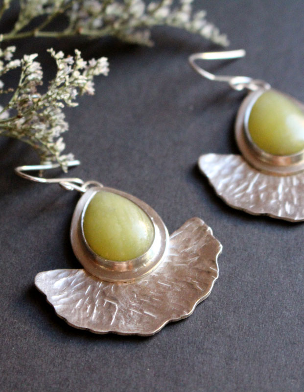 Sun leaves, gingko leaves earrings in sterling silver and aventurine