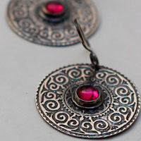 Suzani, Asian embroideries earrings in sterling silver and ruby