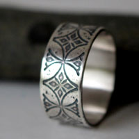 Templar, medieval cross ring in sterling silver