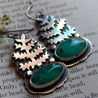 The awakening of nature, fern earrings in sterling silver and chrysoprase