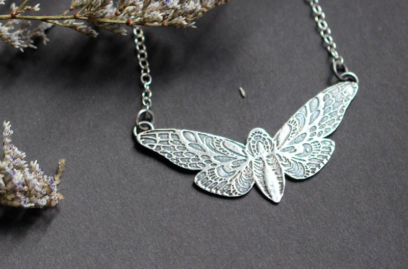 The butterfly's flight, moth necklace in sterling silver