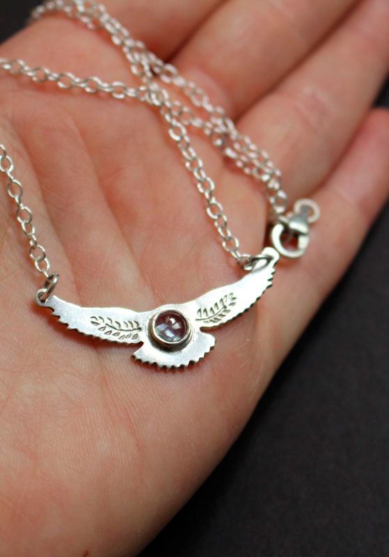 The dawn go between, eagle necklace in sterling silver and spinel