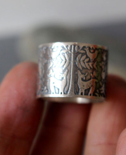 The does' tree, Otomi deer and bird ring in sterling silver