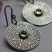 The earth, earth mandala earrings, the four elements collection, in sterling silver and peridot