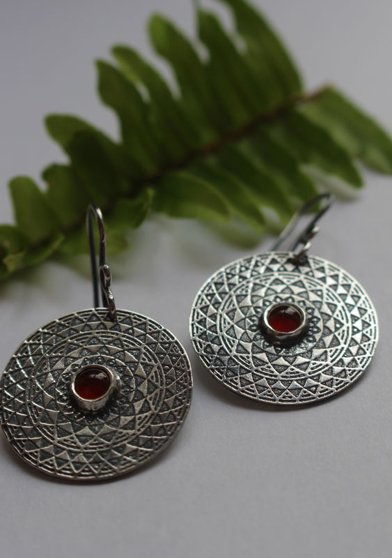 The fire, fire mandala earrings, the four element collection, in sterling silver and carnelian