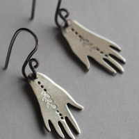 The gift of Gaia, hand and leaves earrings in sterling silver