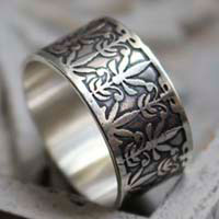 The lily of Mucha, art nouveau lily ring in sterling silver
