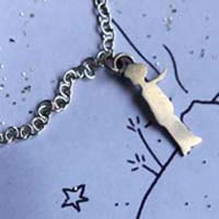 The little prince's silhouette, Saint Exupery bracelet in sterling silver