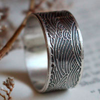 The Sea, Japanese wave ring in sterling silver