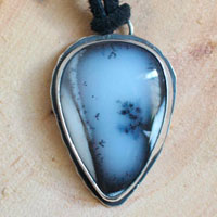 The shrub on the cliff, bonsai pendant in sterling silver and dendritic agate