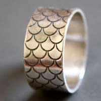 The song of the mermaids, fish scale ring in sterling silver