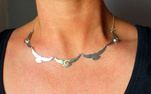 The song of the sun, birds necklace in sterling silver and yellow zircon