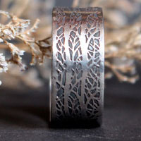 The song of the woods, tree branches ring in sterling silver
