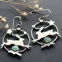The star of the hare, hare earrings in sterling silver and chrysoprase