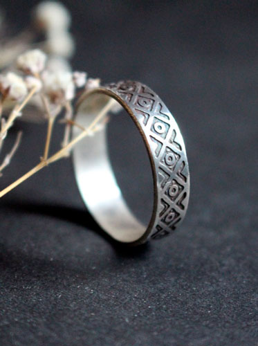 Tribal, ethnic squares and circles ring in sterling silver