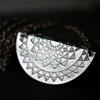 Tribal sun, ethnic necklace in sterling silver
