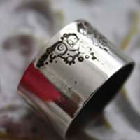 Uchronia, steampunk ring in sterling silver