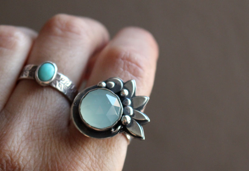 Water lily under the moonlight, lotus flower ring in sterling silver and chalcedony