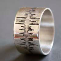 Wave, sound wave ring in sterling silver