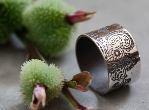 Winter jasmine, Indian flower ring in sterling silver