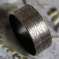 Wood, grainwood ring in sterling silver