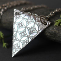 Yashiro, triangle Japanese sanctuary necklace in sterling silver